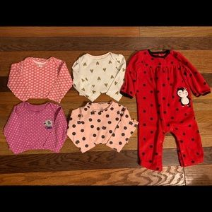 Baby girl 5 piece body suit lot size 12 months